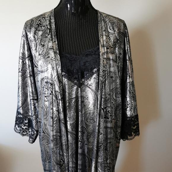 Victoria Stevens Black & Silver Lingerie Set 2XL